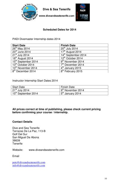 PADI Divemaster Internship info 10