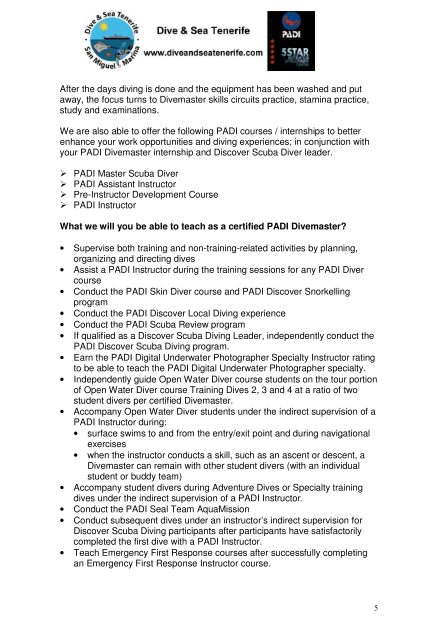 PADI Divemaster Internship info 5