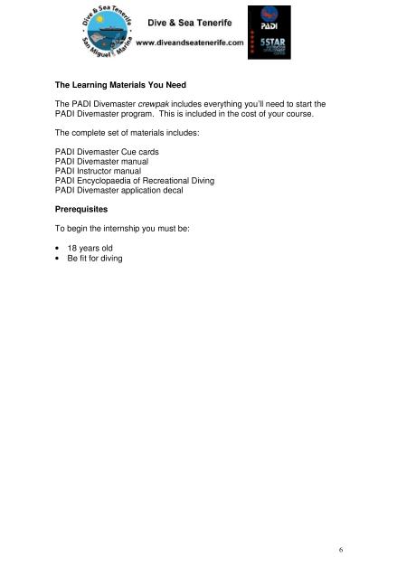 PADI Divemaster Internship info 6