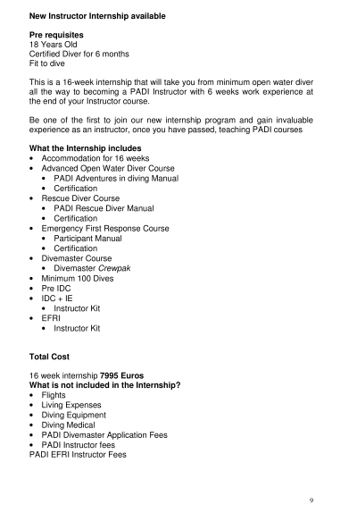 PADI Divemaster Internship info 9
